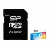 карта памяти Silicon Power Elite COLORED MicroSDXC 64Gb (Class10, U1, R/W 85/15 MB/s), с SD-адаптером