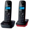Радиотелефон Panasonic KX-TG1612RU3 темно-серый с красным, купить за 2 610руб.
