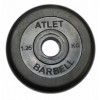 Диск для штанги MB Barbell Atlet  (31 мм, 1,25 кг), черный, купить за 520руб.