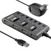 USB концентратор Ginzzu GR-487UAB, черный, купить за 965руб.