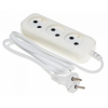 Удлинитель электрический Сетевой Buro BU-PSL3.1/W 1.5м (3 розетки, пакет ПЭ), белый, купить за 275руб.