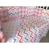 комплект Подушкино Зигзаги (6 предметов, борта подушками, поплин), караловый, купить за 1 865руб.