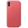 Чехол для смартфона Apple iPhone XS Leather Folio -  Пион розовый (MRX12ZM/A), купить за 8140руб.