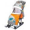 Санки-коляску Ника  НД 7-6 с ежиком - оранжевый/ серый, купить за 4385руб.