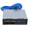 """Устройство для чтения карт памяти GINZZU GR-152UB (3.5"""", 2x USB 3.0), чёрный, купить за 535руб."""