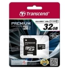 Карта памяти Флеш карта MicroSDHC 32Gb class10 UHS-1 Transcend Premium  +адаптер, купить за 995руб.