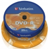 Оптический диск DVD-R Verbatim 4.7 Gb, 16x, Cake Box (25шт), купить за 940руб.