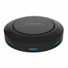 Зарядное устройство Orico HCP-5US-BK (4xUSB 2.4A, USB-Hub, Qi), черное, купить за 3 470руб.