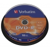 Оптический диск DVD-R Verbatim 4,7 Gb, Cake Box (10 шт), купить за 345руб.