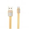 Кабель (шнур) Remax Platinum RC-044a (1 м, USB A -  USB C), золотистый, купить за 300руб.