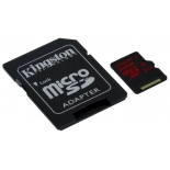 карта памяти Kingston SDCA3/64GB (microSDXC, 64Gb, UHS-I, U3, SD-адаптер)