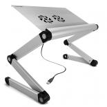 подставка для ноутбука CROWN CMLS-100 (складной стол-подставка, 17'', охлаждение), серебристый
