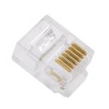 коннектор сетевой VCOM VTE7717 (RJ-11 6P6C, 100 штук, для телефонного кабеля)