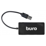 USB-концентратор Buro BU-HUB4-U2.0-Slim, черный