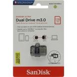 usb-флешка SanDisk Ultra Dual USB Drive m3.0/USB 3.0 128Gb, черная