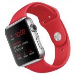 Умные часы Apple Watch with Sport Band нержавеющая сталь / красные