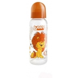 бутылка Lubby Веселые животные, с соской, оранжевая