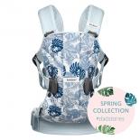 рюкзак-кенгуру BabyBjorn One Cotton Mix, принт - листья бледно-голубые