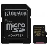карта памяти Kingston microSDXC 64Gb Class 10 UHS-I, SD-адаптер
