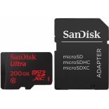 карта памяти Sandisk Ultra microSDXC 200GB UHS-I (Class10, U3, совместимость с Android, SD-адаптер)