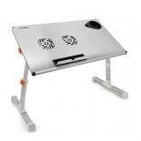 подставка для ноутбука CROWN CMLS-101 (складной стол-подставка, до 17'', охлаждение), серебристый