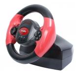руль и педали игровые (комплект) SVEN Speedy (Vibration Feedback, рулевое колесо, педали, 10кн, 4 поз.мини-джойстик, USB)