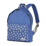 рюкзак городской Nosimoe 003-02D голубой-карман-звёзды