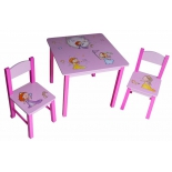 комплект детской мебели Бюрократ KidSet-01/Princ, стол + 2 стула (столешница МДФ 595х595х533, стул 280х300х300 в570)