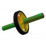 тренажер Ролик для пресса (1-колесный) малый, черно-зелено-желтый