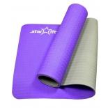 коврик для йоги Starfit FM-201 (173x61x0,5 см), фиолетово-серый