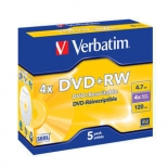 Оптический диск DVD+RW Verbatim 4.7Gb, 43229, (5 шт)