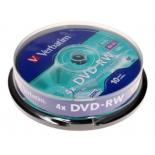 Оптический диск Verbatim DVD-RW 4.7 Gb, 4x, Cake Box (10шт)