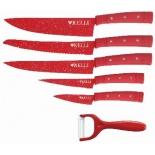 ножи (набор) Kelli KL-2133 (в деревянном кейсе, 6 шт.), красные
