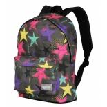 рюкзак городской Nosimoe 8302, звезды цветные/серый