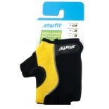 перчатки для фитнеса Starfit SU-108 (размер: S), желто-черные