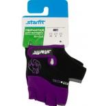 перчатки для фитнеса Starfit SU-113 (размер: М), черно-фиолетово-серые