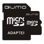 карта памяти Qumo microSDHC class 4 8GB + SD adapter, Черная