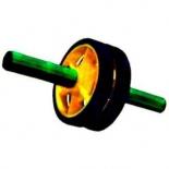 тренажер Ролик для пресса (2-колесный) малый, черно- желто- зеленый