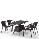 стол со стульями Afina T198D/Y137C-W53 brown (4+1) комплект