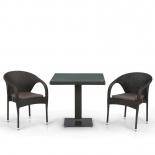 стол со стульями  Afina T605SWT/Y290W-W53 brown (2+1) комплект