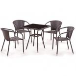 стол со стульями Afina T282BNS/Y137C-W53, brown (4+1) комплект