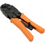 инструмент для монтажа сетей и проводки клещи обжимные Vcom D1903, черные-оранжевые