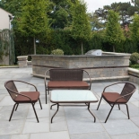 стол со стульями Afina TLH-037/037D/40S коричневый