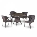 стол со стульями Afina обеденная T220BBT/Y290B-W52, 4+1, коричневый