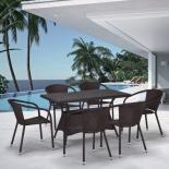 стол со стульями Afina обеденный  T198D/Y137C-W53,на 6 персон, коричневый