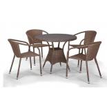 стол со стульями Afina T197AT/Y137C-W56 (4+1), светло-коричневый