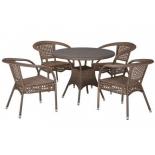 стол со стульями Afina T220CT/Y32-W56 (4+1) светло-коричневый