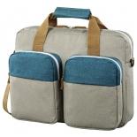 сумка для ноутбука Hama Florence II Notebook Bag 15.6, серая с зеленым