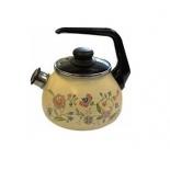 чайник для плиты Стальэмаль 2,0л со свистком, луговые цветы  (4с210я)