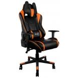 игровое компьютерное кресло Aerocool AC220 AIR-BO с перфорацией, черно-оранжевое